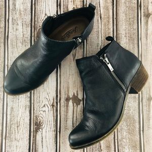 "Lucky brand ""Basel"" leather zipper booties 7-1/2"